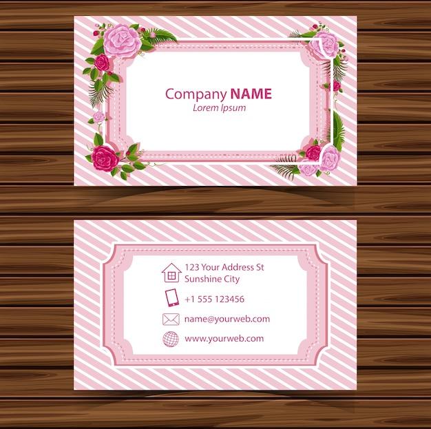 Modelo businesscard com beira de rosas