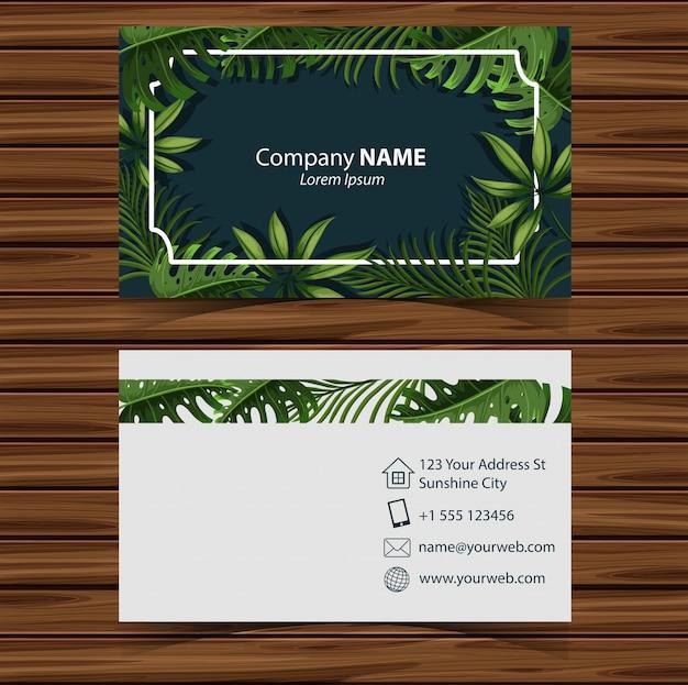 Modelo businesscard com folhas na frente e nas costas