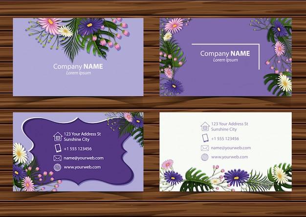 Modelo businesscard com lindas flores na frente e vista traseira