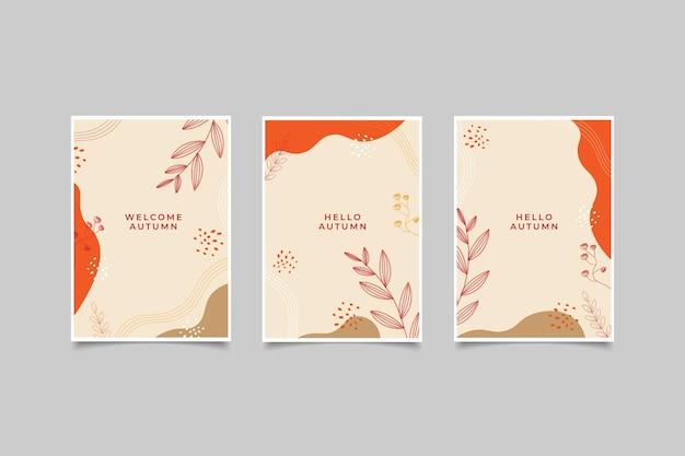Modelo cartão feliz outono gradiente mão desenhar