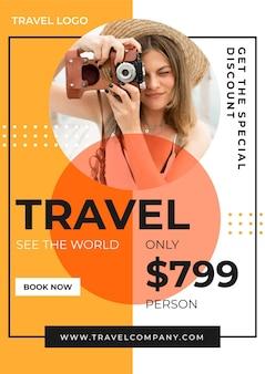 Modelo cativante de folheto de vendas para viagens