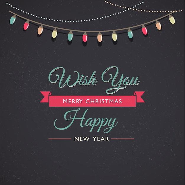 Modelo clássico de feliz natal e feliz ano novo com decorações para árvores de natal.