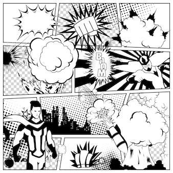 Modelo colorido da página de quadrinhos com várias bolhas do discurso, raios, estrelas, pontos, meio-tom. silhueta de super-herói e cidade
