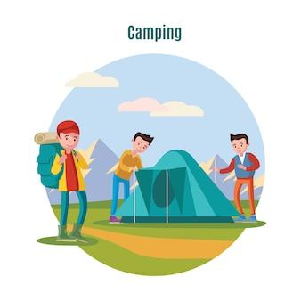 Modelo colorido de acampamento e mochila