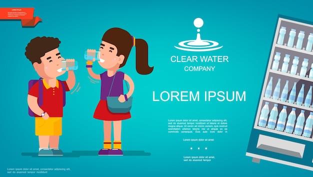 Modelo colorido de água pura plana com menino e menina bebendo água e vitrine de geladeira para bebidas refrescantes