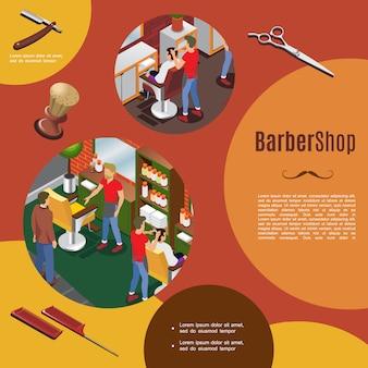Modelo colorido de barbearia isométrica com cabeleireiros e clientes objetos interiores navalha tesoura pentes escova