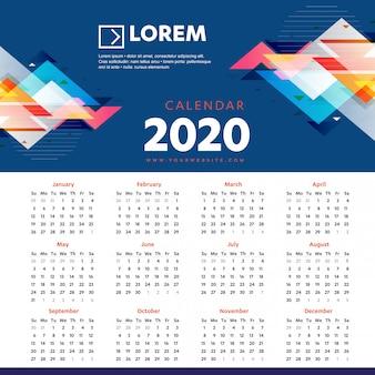 Modelo colorido de calendário de parede 2020
