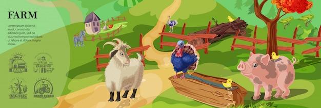 Modelo colorido de fazenda dos desenhos animados com animais fofos na paisagem campestre e agricultura emblemas de estilo monocromático