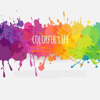 Modelo colorido de fundo abstrato brilhante com respingos de tinta banner horizontal da web