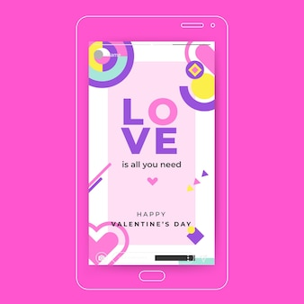 Modelo colorido de história do instagram para o dia dos namorados