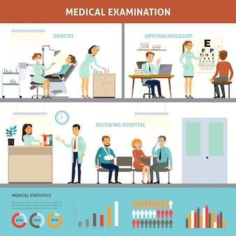 Modelo colorido de infográfico para exame médico