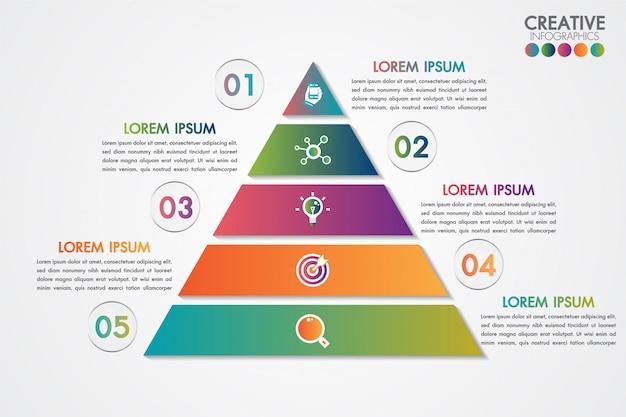 Modelo colorido de infográficos pirâmide com 5 passos ou conceito de opções.