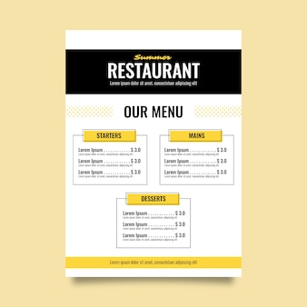 Modelo colorido de menu de restaurante