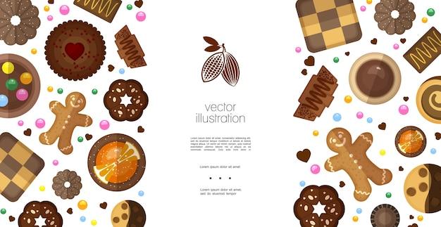 Modelo colorido de produtos doces planos