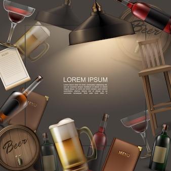 Modelo colorido de pub realista com caneca de copo de coquetel e barris de madeira com garrafas de cerveja e cadeiras de bebidas alcoólicas.