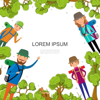 Modelo colorido de recreação na floresta