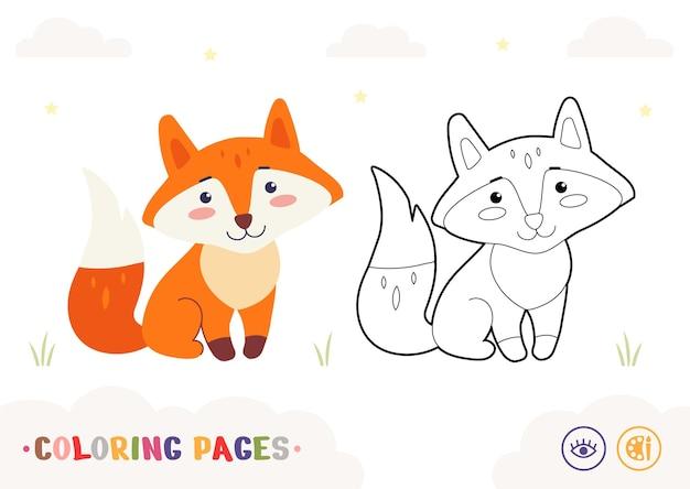 Modelo colorido e imagem incolor do contorno da raposa fofa isolada no fundo branco animais selvagens