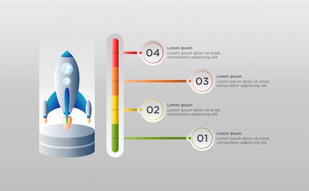 Modelo colorido infográfico com nave espacial