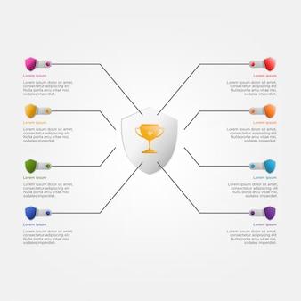 Modelo colorido infográfico com troféu e escudos