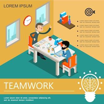 Modelo colorido isométrico de trabalho em equipe de negócios com gerentes trabalhando à mesa na ilustração de escritório,
