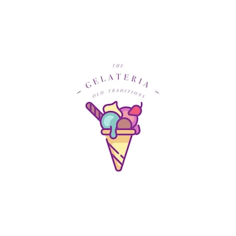Modelo colorido logotipo ou emblema - sorvete, gelato. ícone de sorvete. logotipo no estilo linear moderno em fundo branco.