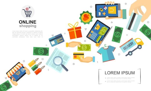 Modelo colorido plano de e-commerce