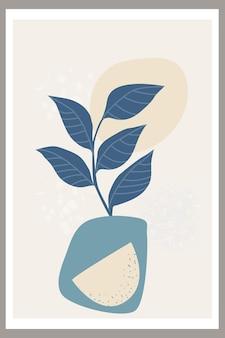 Modelo com composição abstrata de formas simples e elementos botânicos naturais