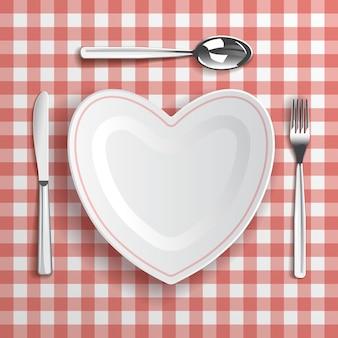 Modelo com compromissos de mesa e prato em forma de coração
