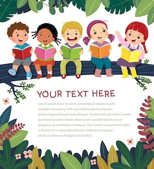 Modelo com desenho de crianças felizes no livro de leitura de galho de árvore.