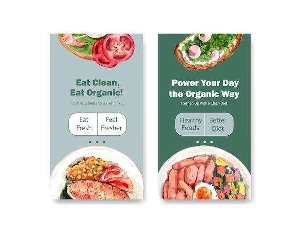 Modelo com design de alimentos saudáveis e orgânicos para mídias sociais, aquarela