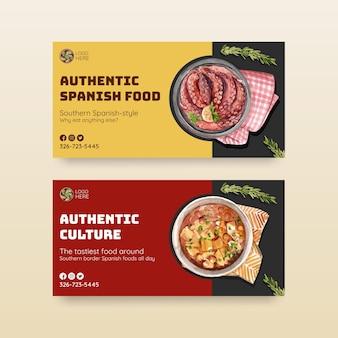 Modelo com design de conceito de cozinha espanhola para ilustração em aquarela de mídia social