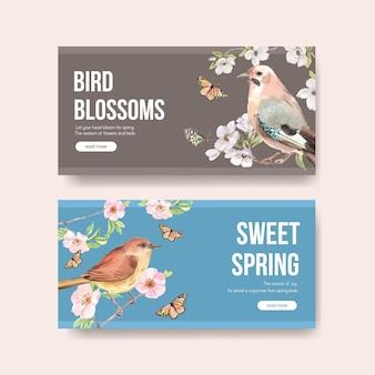 Modelo com design de conceito de primavera e pássaro para mídia social e ilustração em aquarela da comunidade
