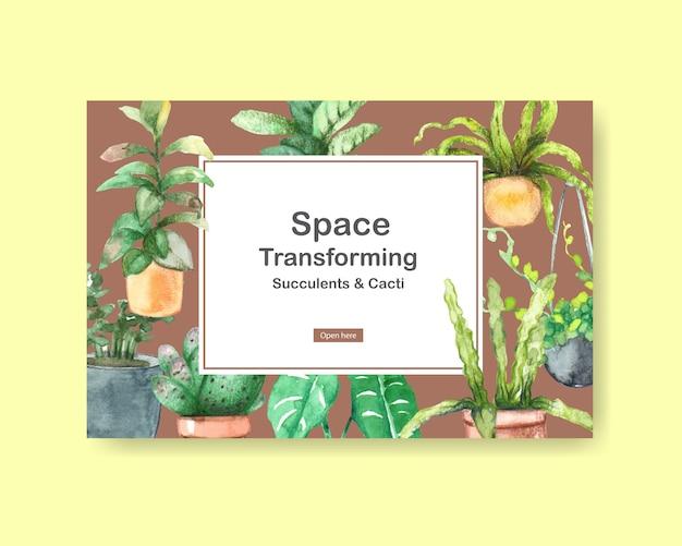 Modelo com design de plantas de verão para mídias sociais, internet, web, comunidade on-line e anunciar ilustração aquarela