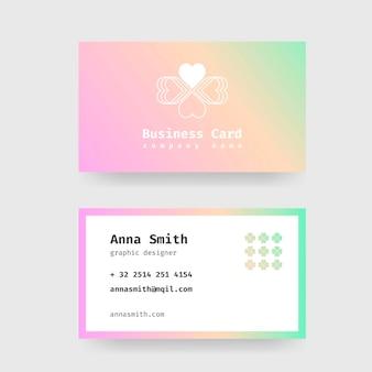 Modelo com design gradiente pastel para cartões de visita