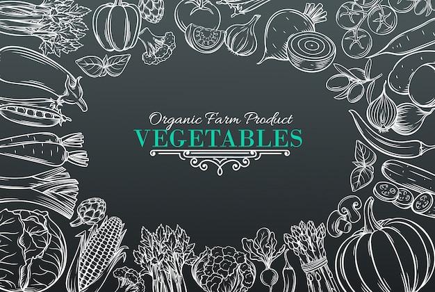 Modelo com legumes da mão desenhada