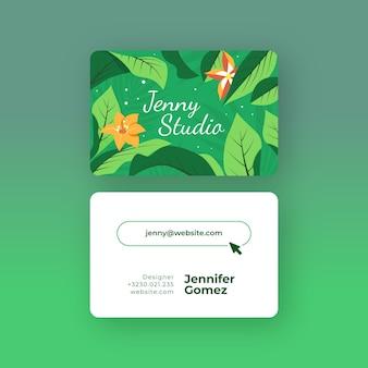 Modelo com motivo natural para cartões de visita