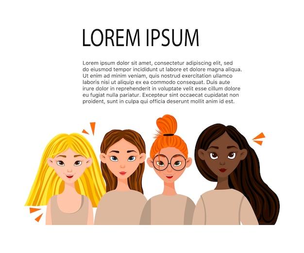 Modelo com mulheres de diferentes nacionalidades