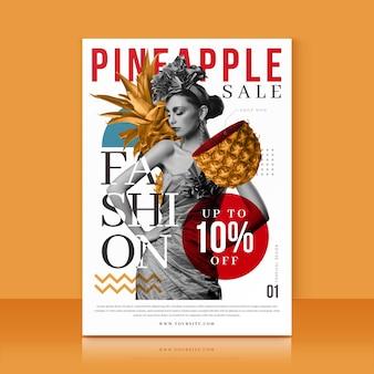 Modelo com oferta de venda de abacaxi