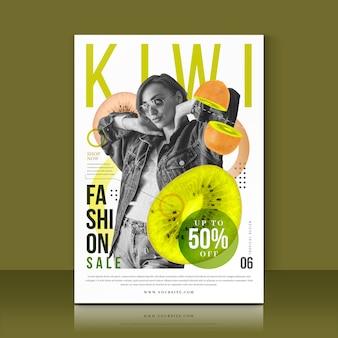 Modelo com oferta de venda de kiwi