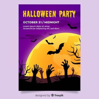 Modelo com panfleto de festa de halloween de design plano