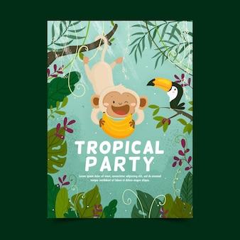Modelo com poster de festa tropical