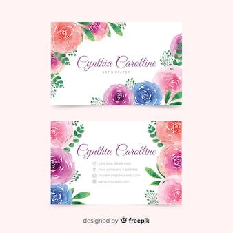 Modelo com tema floral para cartão de visita