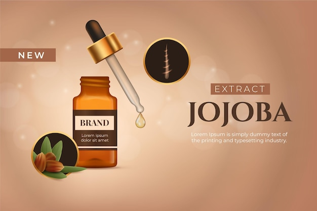 Modelo comercial de óleo de jojoba realista