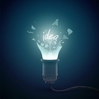 Modelo conceitual criativo com lâmpada elétrica explosiva com ideia de palavra de filamento em ilustração escura