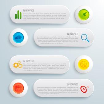 Modelo conceitual de negócios infográfico com ilustração de ícones e texto de círculos coloridos banners cinza