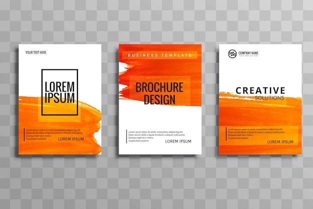 Modelo conjunto brochura de negócio aquarela laranja abstrata