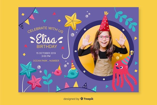 Modelo convite de aniversário de crianças com foto