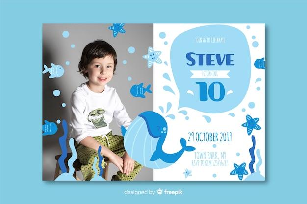 Modelo convite de aniversário de crianças com imagem
