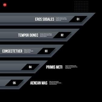 Modelo corporativo futurista do gráfico no fundo preto. útil para apresentações e meios de marketing.