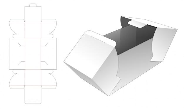 Modelo cortado da caixa de presente de 2 aletas